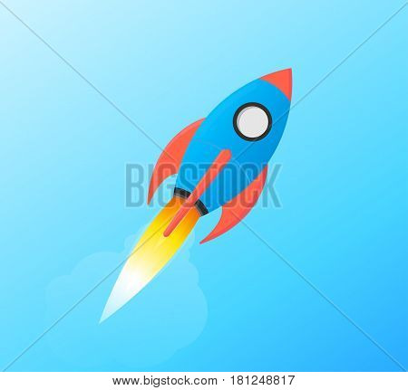 Flying Space Rocket Shuttle Launching in Sky - Illustration Styled in Flat Vector and Bright Balanced Red and Blue Isolated on Gradient Background