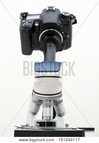 Dslr Camera Attached With Adapter To Microscope.