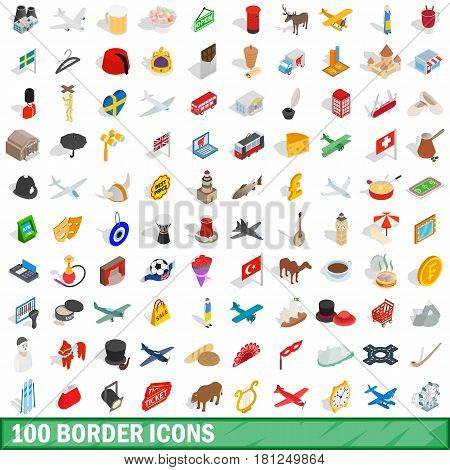 100 border icons set in isometric 3d style for any design vector illustration