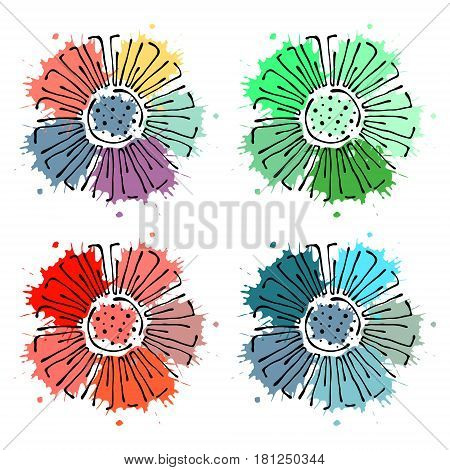 Vector Floral Set, Graphic Illustration. Flowers With Leaves Isolated On The White Background. Hand
