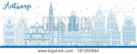 Outline Antwerp Skyline with Blue Buildings. Business Travel and Tourism Concept with Historic Architecture. Image for Presentation Banner Placard and Web Site.
