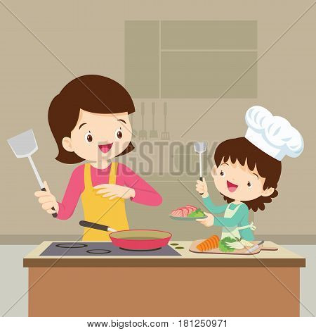 Daughter Cooking With Mam