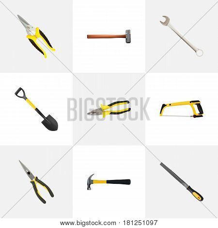 Realistic Sharpener, Spanner, Arm-Saw And Other Vector Elements. Set Of Tools Realistic Symbols Also Includes Emery, Scissors, Tool Objects.
