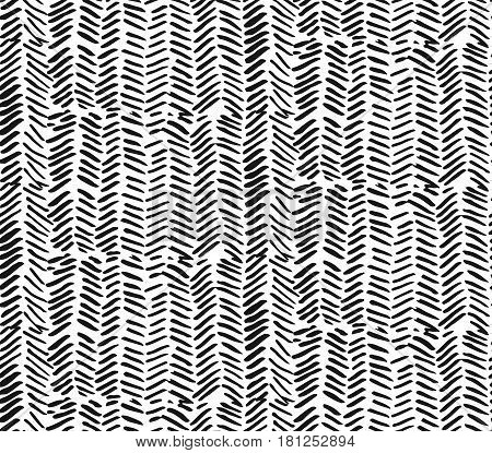 Hand drawn graphic brush strokes textured zig zag pattern.Seamless vector abstract painted pattern.Texture for web print home decor textile wrapping paper wallpaper invitation card background