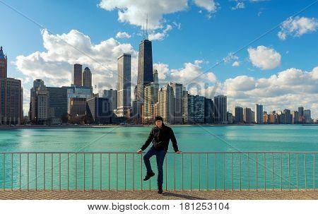An Asian Man Traveling Chicago illinois USA