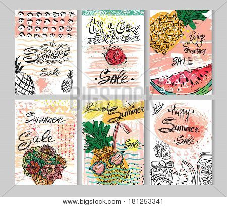 Summer hand drawn abstract calligraphic card set. Vector collection of bright summer sale cards.Beautiful summer posters with summer fruits, flowers and sweets.Cute illustration for your sale