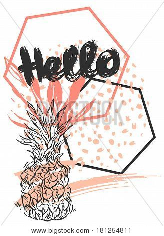 Hand drawn vector abstract textured geometric minimalistic template card with pineappleglitter and hexahedrons in blackwhite and pastel colors isolated on white background.