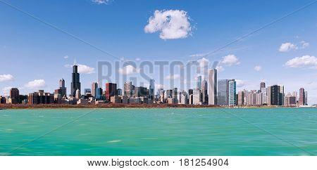 Skyline of Chicago city with blue lake, illinois. USA
