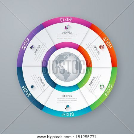 Vector circle infographic template for graphs, charts, diagrams. Pie chart concept with 6 options, parts, steps, processes