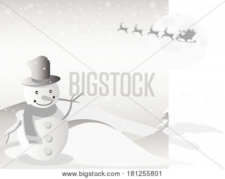 the Christmas background of Santa flying in the sky and snowman standing on the front