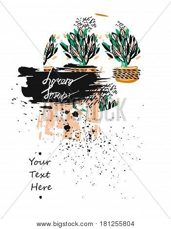 Hand drawn textured floral card template.Vector artistic card with place for your text.Journal beautiful abstract card design for greeting, birthday card, business, save the date, wedding, invitation.