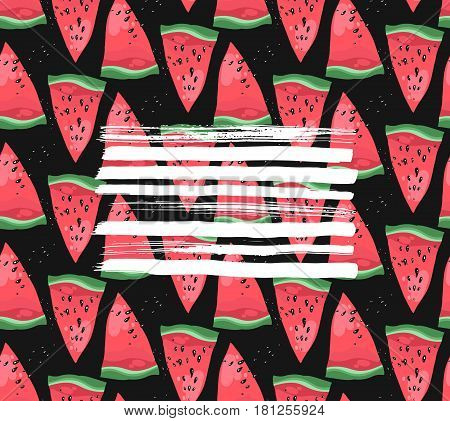 Hand drawn modern vector watermelon card template with white textured strokes on black background.Fabric watermelon pattern.Home Textile with watermelon.Trendy watermelon text card.Summer illustration