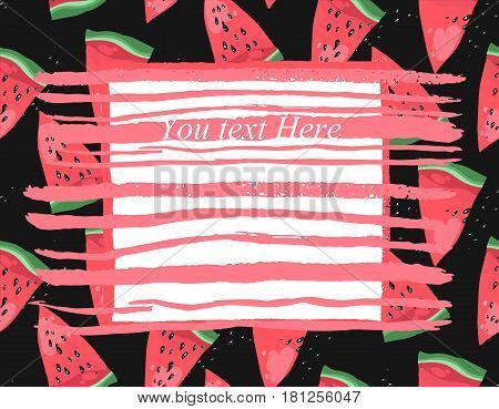 Hand drawn modern vector watermelon card template with coral textured strokes for your text on black background.Notebook watermelon page.Trendy watermelon text card.Summer fruit illustration