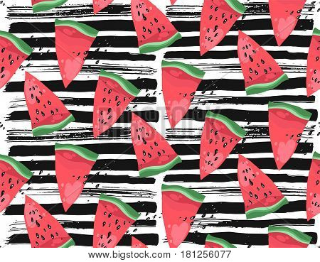 Hand drawn modern vector watermelon pattern with black textured ink brush strokes on white background.Trendy watermelon summer fruit pattern.
