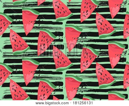 Hand drawn modern vector watermelon pattern with black textured ink brush strokes on green background.Trendy watermelon summer fruit pattern.