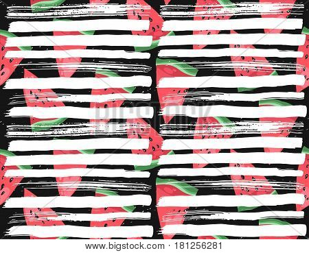 Hand drawn modern vector watermelon notebook page template with ink white textured strokes for your text and notation, on black background.Fabric watermelon pattern. Summer fruit illustration.