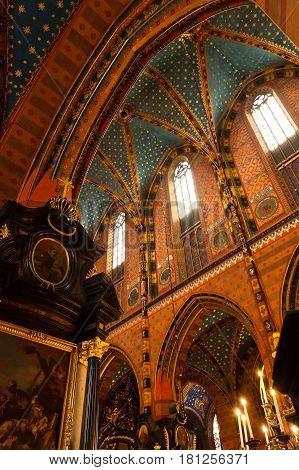 POLAND, KRAKOW - JULY 07, 2016: Interior of a medieval gothic St Mary's church in Krakow. Poland