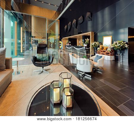 Luxury private lobby in a hotel Entrance and reception