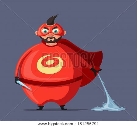 Mr. Freezer. Evil superhero. Cartoon vector illustration. Negative person. Fat man. Character in cloak. For banners and posters