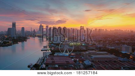 The Ferris Wheel In Bangkok, Asiatique The Riverfront In Bangkok, Chao Phraya River, Thailand