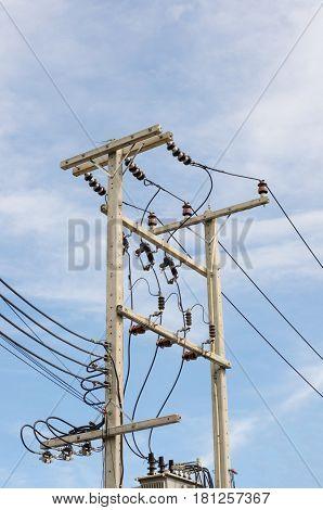 high voltage post .High-voltage tower sky background.