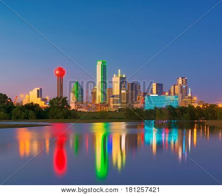 Dallas Skyline Reflection At Dawn, Downtown Dallas, Texas, Usa