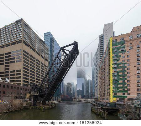 Lifted Chicago Bridge In Chicago, Illinois, Usa