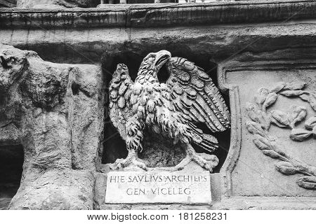 The old Roman stone sculpture of eagle