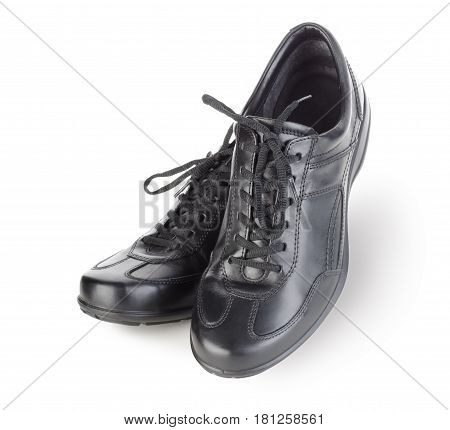 Black mens shoes isolated on white background