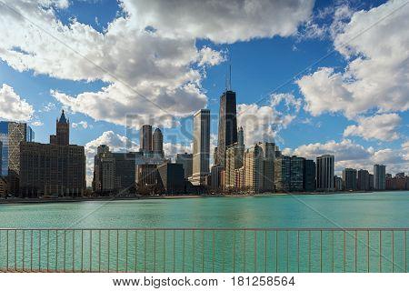 Chicago City Skyline and clear sky, Illinois USA