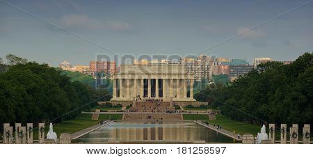 Lincoln Memorial with the lake,Washington D.C. USA
