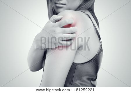 People scratch the itch with hand Upper arm itching Healthcare And Medicine Beautiful girl woman with skin problem concept