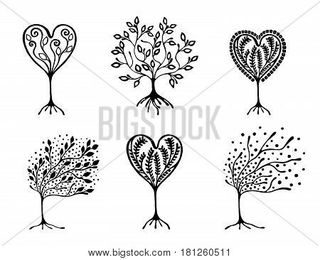 Vector Set Of Hand Drawn Illustration, Decorative Ornamental Stylized Tree. Black And White Graphic