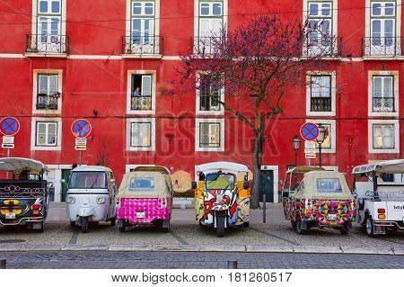 Lisbon, Portugal - March 15, 2017: Tuk-tuk In Alfama, Lisbon, Portugal