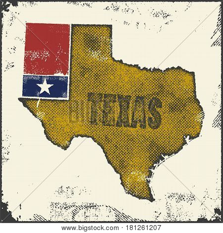Label with map of texas. Vector illustration.