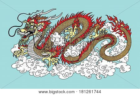 Chinese dragon in the sky surrounded by clouds. Vector illustration on blue background
