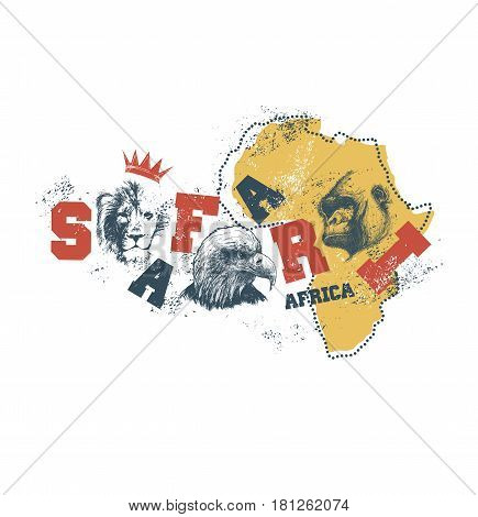 Africa map with animal faces. Vector illustration