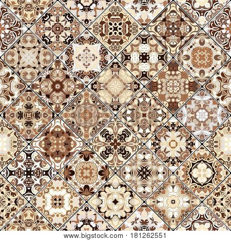 Brown and beige abstract patterns in the mosaic set. Square scraps in oriental style. Vector illustration. Ideal for printing on fabric or paper.