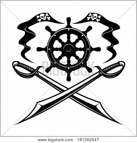 Pirates emblem - steering wheel and crossed swords or sabers. Black flag for entertainment party decor