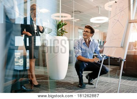 Happy mature caucasian businessman near flip board with diagram. Office worker giving a presentation on a flipchart to colleagues and smiling.