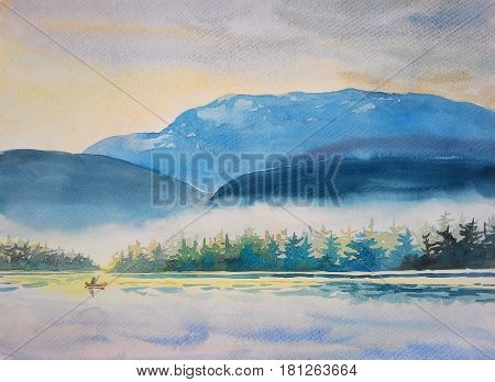 Watercolor original painting on paper landscape colorful of boating morning in mountain and emotion in sky fog cloud background