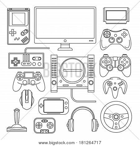 Computer digital video online game console game tools vector set. Black line