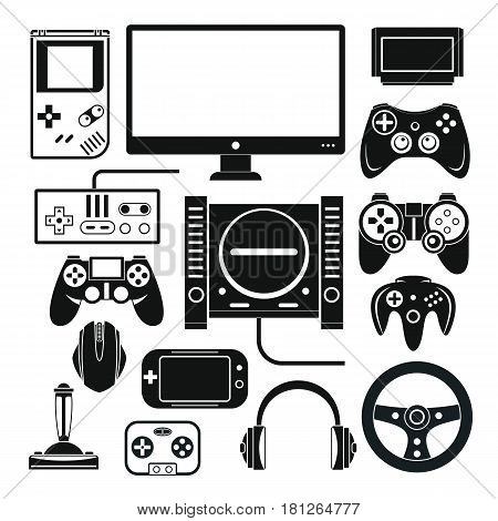 Computer digital video online game console game tools vector set. Black silhouette