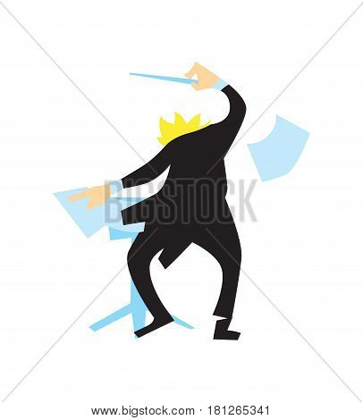 Conductor directing symphony orchestra vector illustration isolated on white background. Classical music artist in flat design.