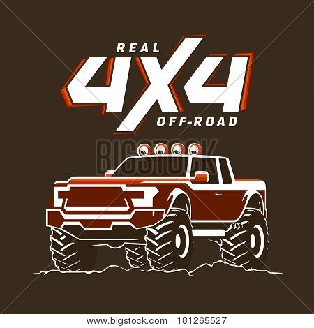 Off-road monster truck pickup. 4x4 logo. Suv sign on black. Vector illustration