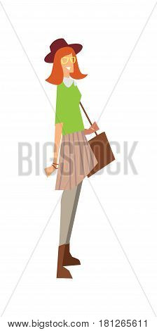Elegant fashion girl with bag and hat vector illustration isolated on white background. Pretty young woman, glamour model in flat design.