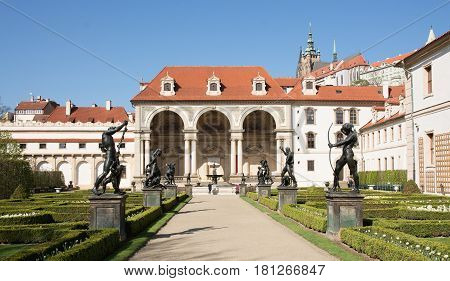 The Wallenstein Garden vith Sala Terrena and the path bordered with statues
