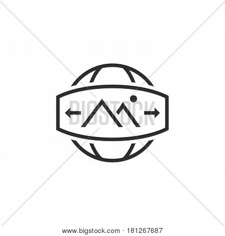 360 Degree Panorama Image Sign. Line Icon, Outline Vector Logo Illustration, Linear Pictogram Isolat