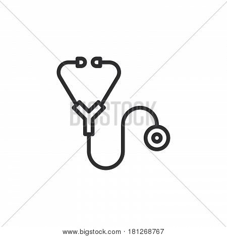 Stethoscope line icon outline vector sign linear style pictogram isolated on white. Symbol logo illustration. Editable stroke. Pixel perfect