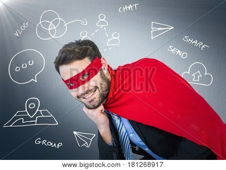 Digital composite of Business man superhero with head on hand against navy background with white business doodles and fla